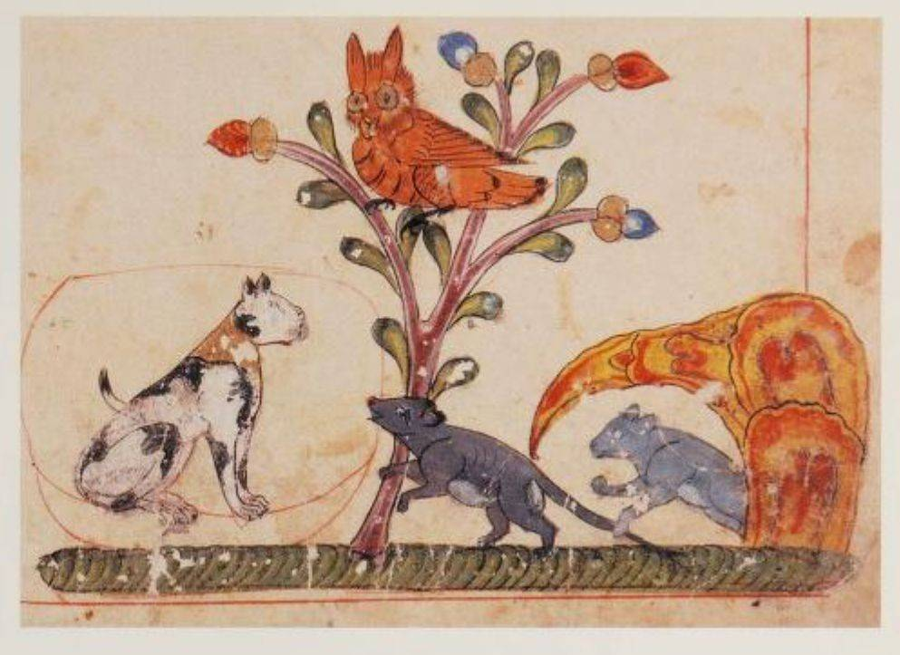 Painting of a spotted cat in a copy of the Kalila wa Dimna.